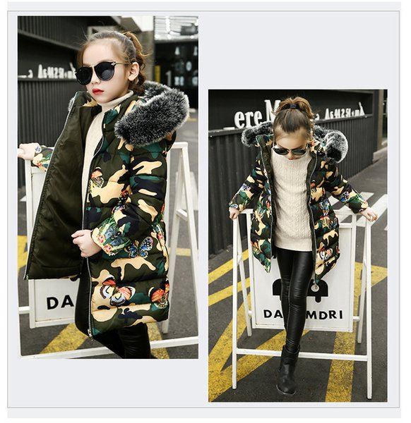 good quality girls winter warm coats fashion style camouflage cotton long sleeve down parkas kids children thick hooded snow suits