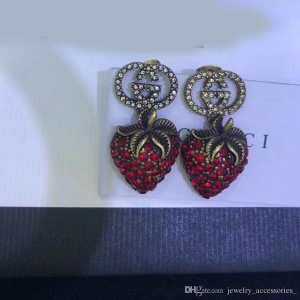 Fresa Diamante Pendientes Rojos Mujer Diseño de Lujo Pendientes Pendientes Rojos Rojos Joyas de Regalo de San Valentín Regalo