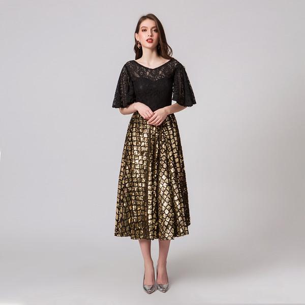 new release wholesale 2018 shoes Wholesale Sparkly Gorgeous Jewel A Line Evening Dress Tea Length Sequins  Lace Dress Pageant Celebrity Gowns Custom Made Evening Dresses Uk Sale ...