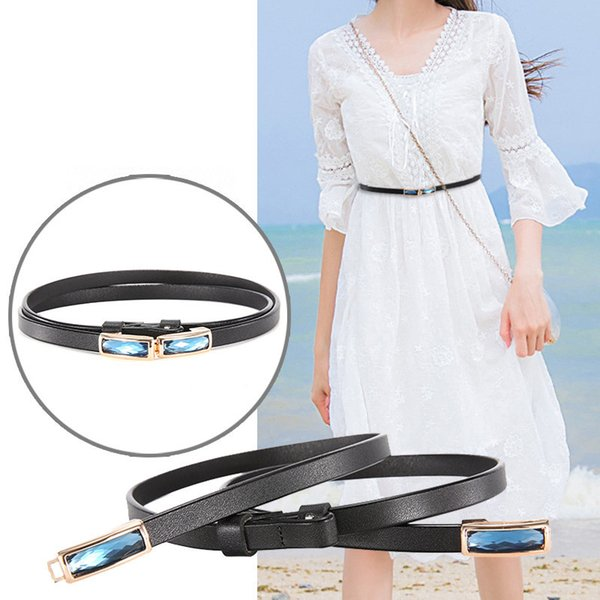 2019 Vintage Skinny Cowhide Belt for Dress Blouse New Adjustable Genuine Leather Women Belt Designer Female Waist Strap Fit for 55-92cm
