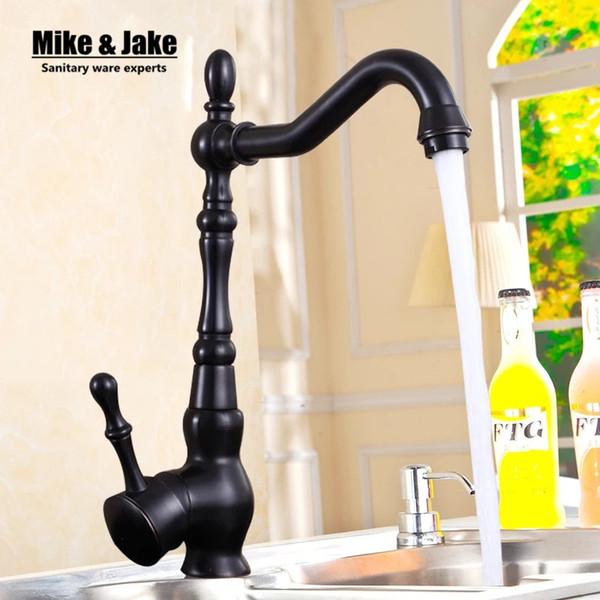 Öl eingerieben schwarz Bronze Swivel Singe Handle Bad Becken Küche Deck montiert Waschbecken Mischbatterie Wasserhahn