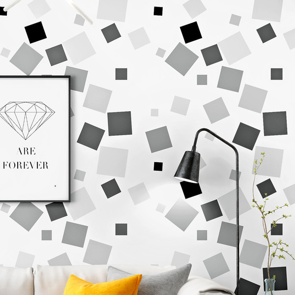 Nordic Black White Gray Square Wallpapers For Living Room Tv Background Wall Abstract Geometric Lattice Papel De Parede Wallpapers Backgrounds