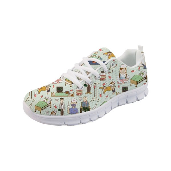 Noisydesigns Fashion Women's Running Shoes Breathable Flats Cute Custom Bear Nuesr Shoes Mesh Sneakers Casual Ladies -AQ