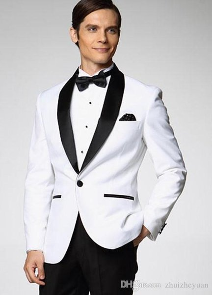 Custom Made Cheap White Groom Tuxedos Best Shawl Black Collar Groomsman Suit Slim Fit Men Wedding Suits Bridegroom (Jacket+Pants+Tie)