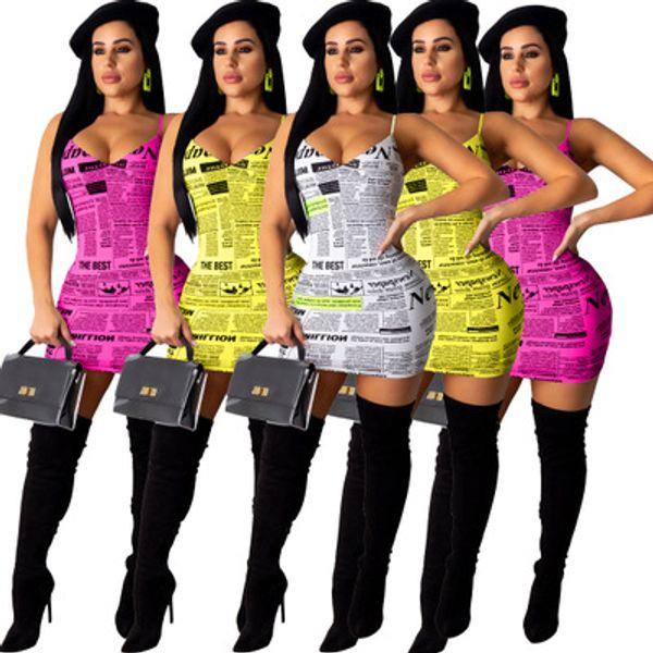 Navio livre 2019 Novas Mulheres Sexy Jornal Impressão Strap Dress Lady Slim Bodycon Mini Vestidos de Desgaste Do Clube