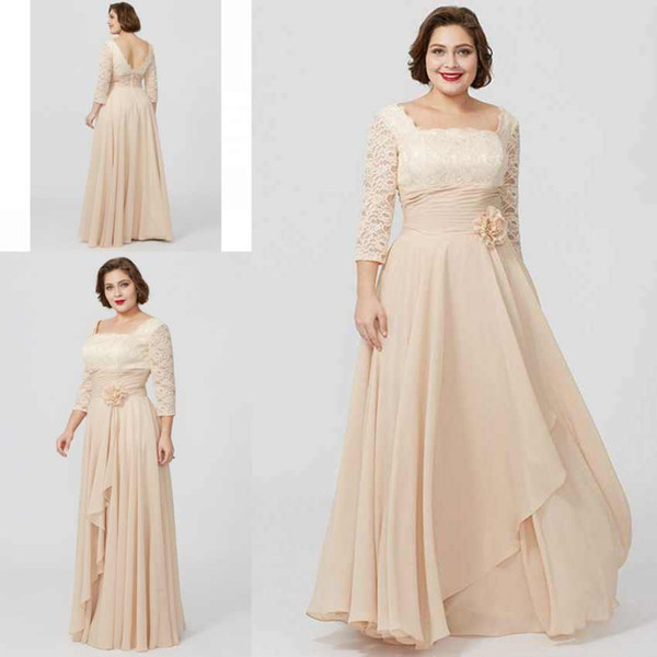 Vintage Anne Gelin Elbiseler Kare Boyun Çizgisi 3/4 Uzun Kollu Dantel Üst El Yapımı Çiçekler Şifon Abiye giyim