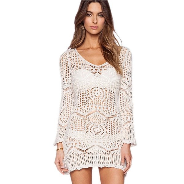 Sexy Women Bikini Cover Dress Hollow Out Crochet Knitting Long Sleeve Beach Dress Swimwear 2019 Summer White Tunic Dress Female