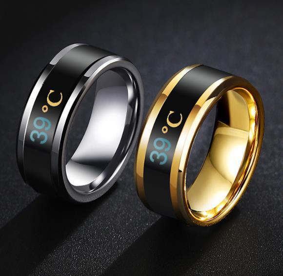 Mood Tracker Anillos 8 MM Pareja de anillos de acero inoxidable Mood para los amantes de la temperatura cambiante de color Celsius Display Anillo de la novedad
