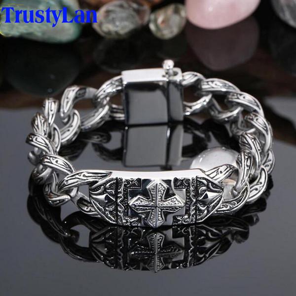 Trustylan Retro Chain Link Bracelet Men 17mm Wide Heavy Cross Stainless Steel Men's Bracelets Cool Punk Male Jewelry Wristband MX190727