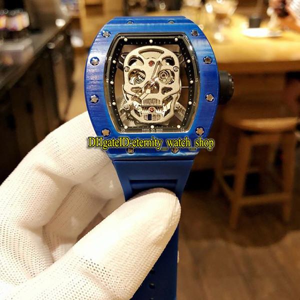 5 Color Top version RM52-01 Skull Skeleton Dial Blue NTPT Carbon Fiber Case Japan Miyota Automatic 052 Mens Watch Rubber Sprap Sport Watches