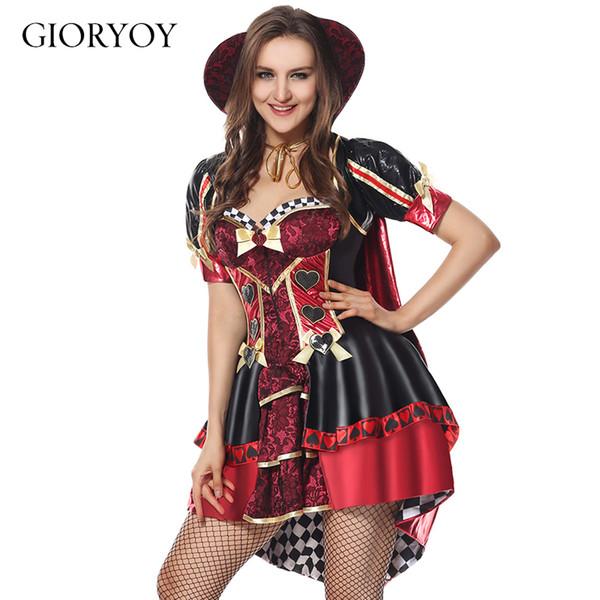 2019 new Halloween Edam Queen Adult Uniform Short Sleeve Vampire Costume Witch Costume Red Queen's Dress