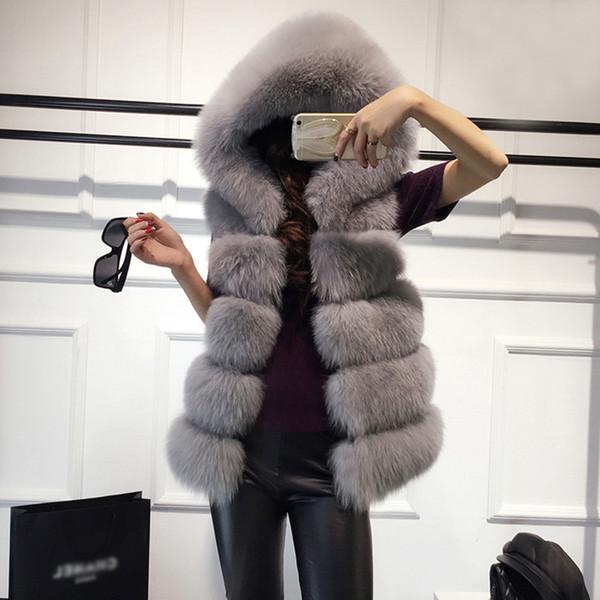 Rosa Schwarz Kunstpelz Weste Wintermantel Frauen Lässig Mit Kapuze Warme Dünne Oberbekleidung Faux Fox Sleeveless Hairly Mantel Frau Manteau Femme