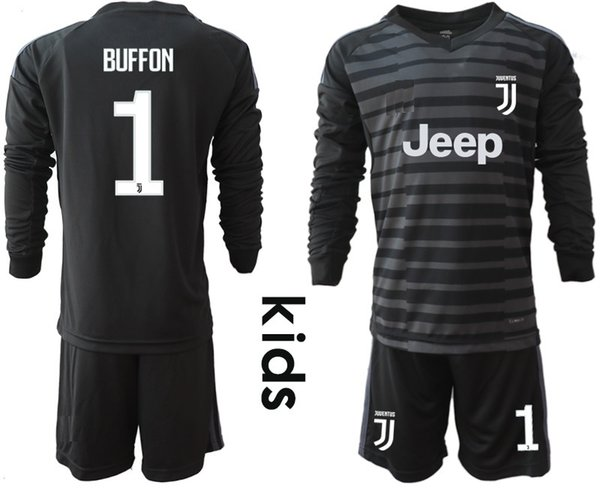 new product 10119 09b03 2019 2018 19 Youth Long Sleeve Juventus Goalkeeper Jerseys Kids Soccer Sets  #1 Buffon Kid Goalkeeper Jerseys #1 Szczesny Children Boys Uniform From ...