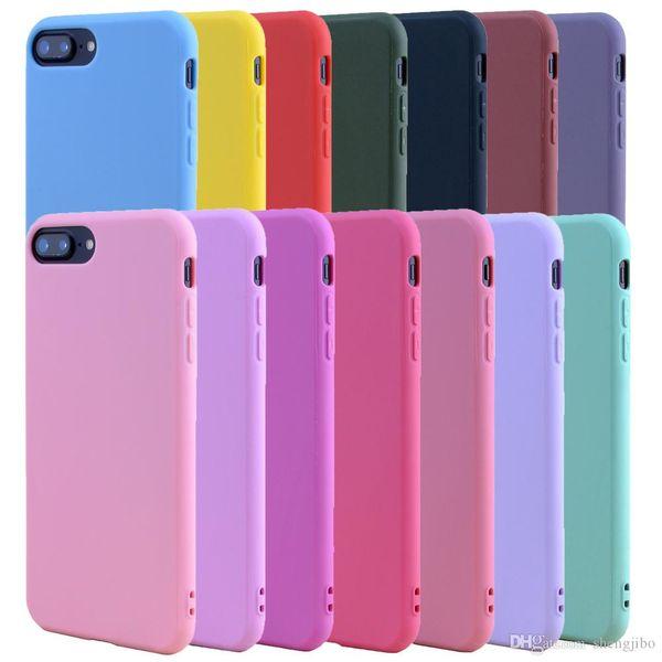 Silicone Case ALANGDUO doce cor TPU borracha para iPhone 7 7plus Caso Proteção Tampa macia Matte fosco para o iPhone 8 6 6S Além disso,