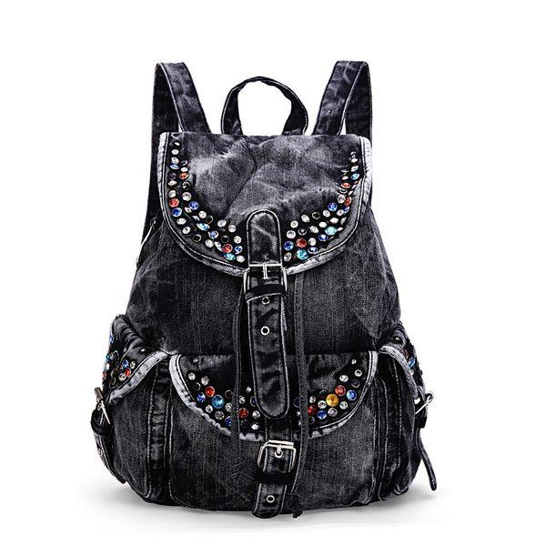 Jean Denim Women Backpacks Large Capacity Shoulder Bags European style Rivets Travel Bags Casual School #193191