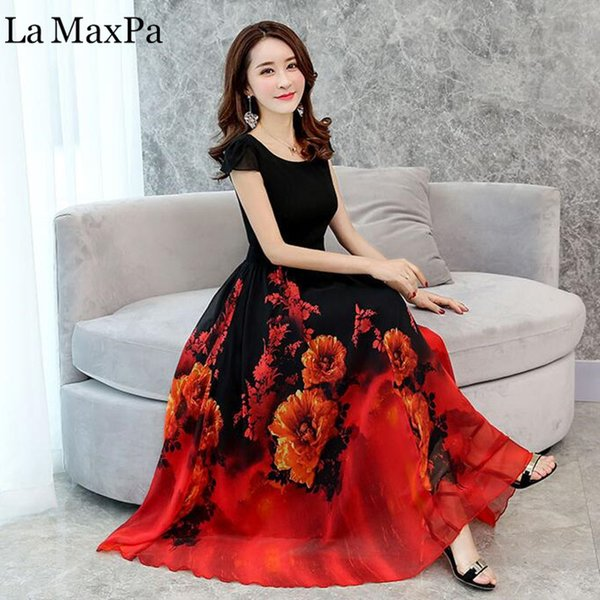 La Maxpa 2018 Summer Elegant Women Chiffon Print Bohemian Beach Dress Maxi Dress O-neck Casual Loose Plus Size Dress Female Y19012201