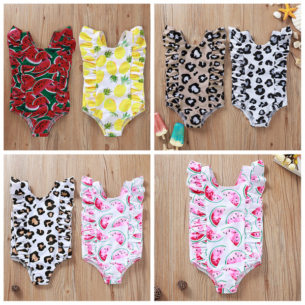 top popular 6styles Leopard fruit print kids swimsuit one-piece summer beach baby girl Pineapple watermelon swimming clothes FFA4087 2021