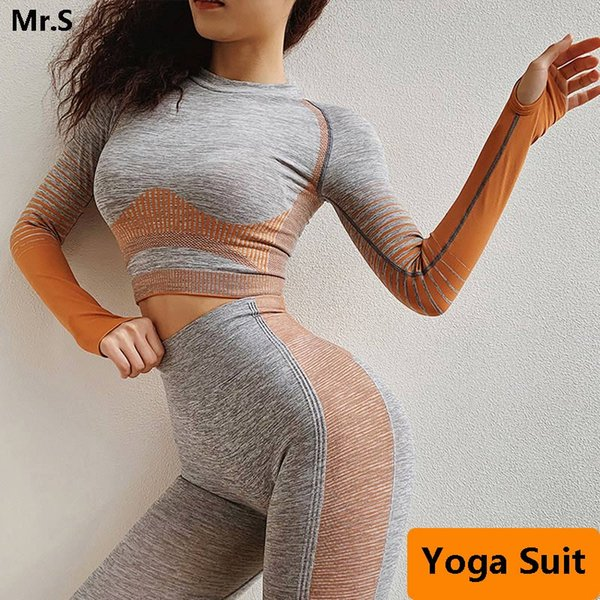 2 Pcs Seamless Workout Clothes For Women Long Sleeve Yoga Set Crop Top Sport Suit Workout Sportswear Gym Fitness Outfit Clothes