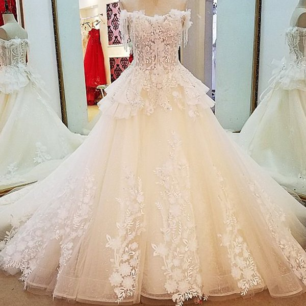 2019 Newest Style China Bridal Gowns Lace Up Back Short Sleeves Off The Shoulder 3D Flowers Wedding Dresses With Train Real Photos
