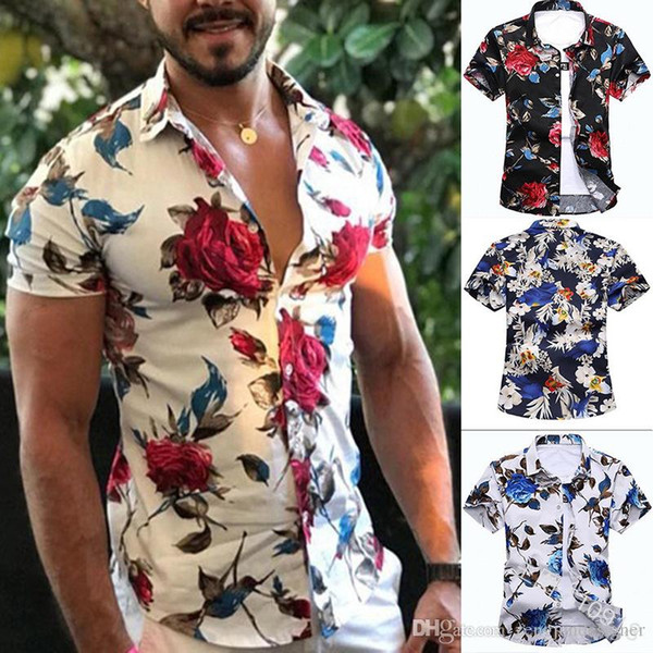 Mens Summer Designer Casual Shirts Turn Down Collar Short Sleeve Floar Print Homme Clothing Fashion Style Apparel