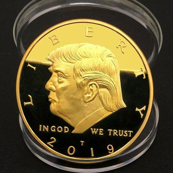 Бесплатная доставка 2019 президент Дональд Трамп Позолоченные EAGLE Памятная монета Республиканский 40x3mm