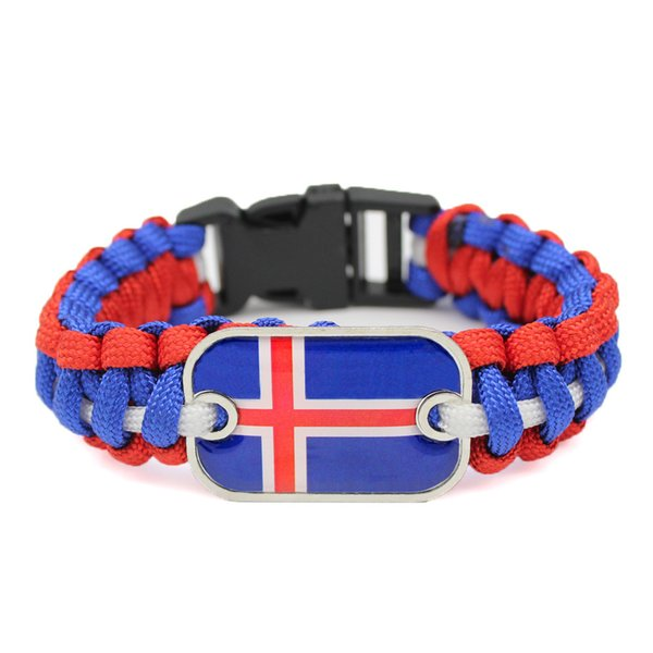 Punk Glass Rectangle Iceland National Flag Outdoor Survival Paracord Charm Bracelet For Women Men Royal Blue Red White Umbrella Rope Jewelry