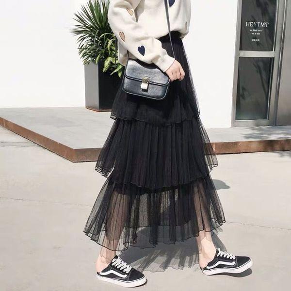2019 Printemps Eté Nouveau Femmes gâteau Jupe longue mince taille haute douce Mori fille Style de maille Jupe fée mi-longues jupes 4 couleurs
