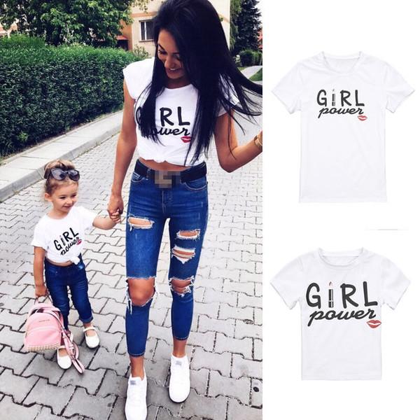 New Mom Baby Girl Power Matching Shirt T-Shirt Camicetta Tee Top Famiglia Outfit Abiti Manica corta Maglietta per labbra casual