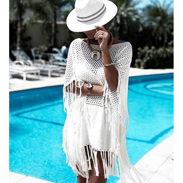 Pareo Beach Per costume da bagno Coverup caftano Indossare Cover Up Copri bagno per le donne costume da bagno Coperchi 2019 New White Baffo maglia allentato