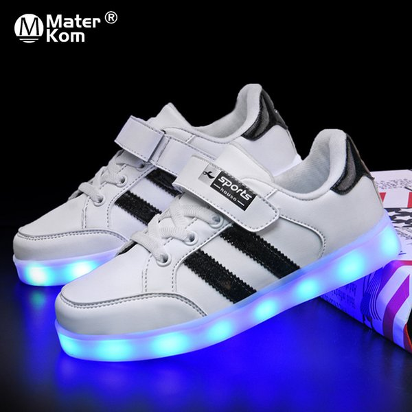 size 25-37 glowing luminous sneakers led shoes for boys girls light up children casual shoes usb charge krasovki with backlight