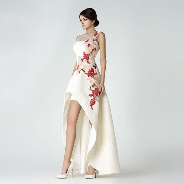 vestido-de-noiva мода o шеи аппликация из бисера рукавов короткие передние длинные назад выпускного вечера платья невесты
