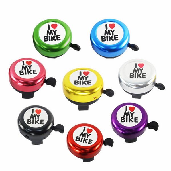 Nueva bicicleta de seguridad Bell I Love My Bike Impreso Sonido claro Lindo Cuerno de bicicleta Alarma Alarma Timbre de llamada Accesorio de bicicleta