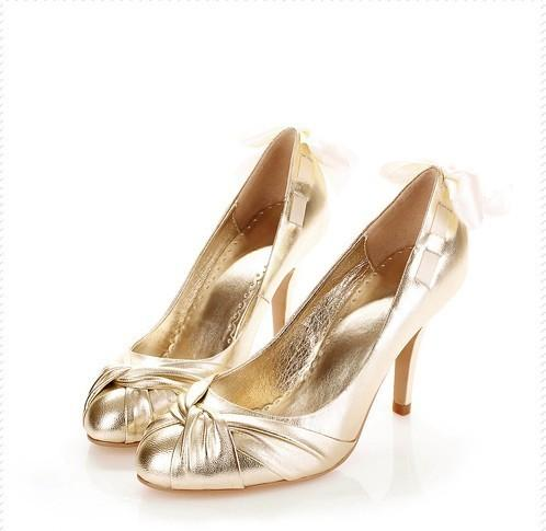 Spring Summer Lace Bow High Heel Bridal Dress Shoes Banquet Wedding Shoes Handmade women Shoes Popular Formal