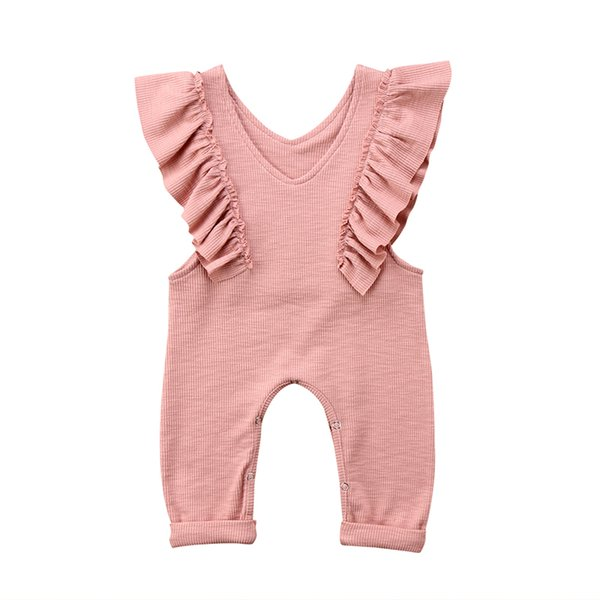 Summer Toddler Baby Girls Ruffle Jumpsuit Romper Overall Pants Outfits Cotton Knitted Sleeveless Overalls Jumpsuit Long