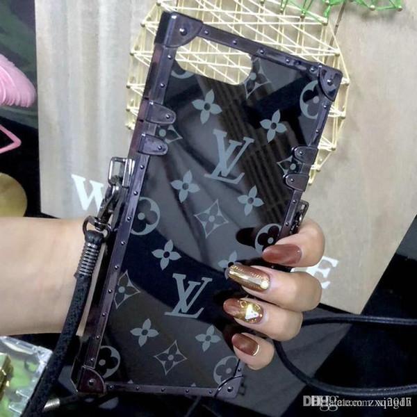 2018 nouvelle mode miroir marque design cas de téléphone mobile pour iphone 7 7plus 8 8plus 6 6S 6plus X TPU + PC avec lanière