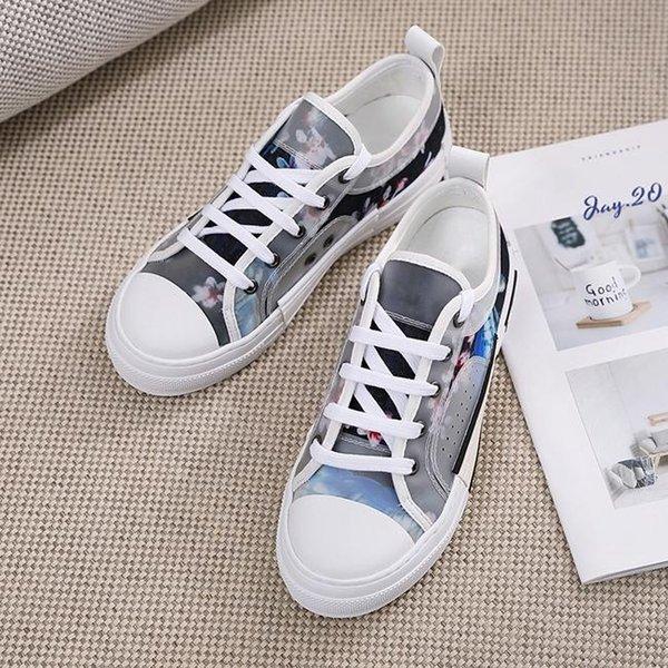 2019 carta lienzo Otoño de zapatos encima de alta moda para mujer l ayudan a las mujeres los zapatos de lona bajos de las zapatillas de deporte sandalias Tamaño 35-41