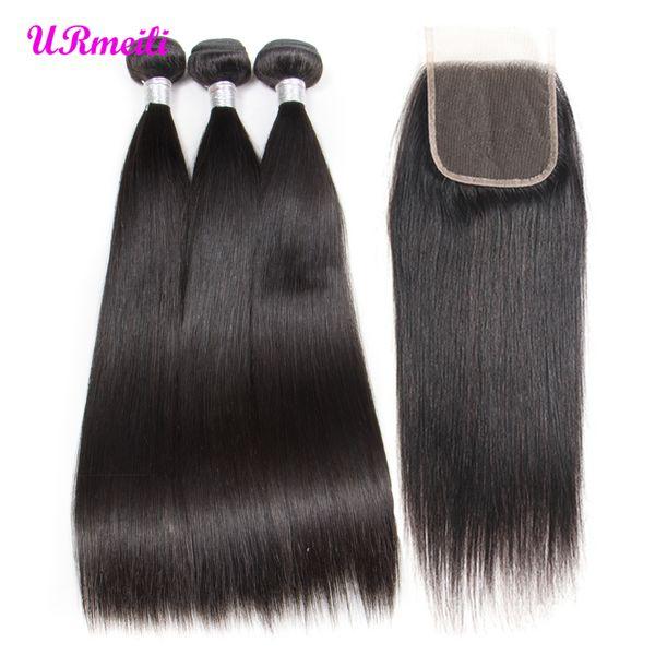 Cabelo humano em linha reta 3 pacotes com 5x5 fecho indiano virgem cabelo weave bundles com 5x5 lace closure reta cabelo grau virgem 10a