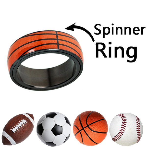 Rotate Sports Ring Baseball Football Basketball Rugby Soccer Jewelry Titanium Stainless Steel Rings Ball Fans Gift US Sizes #6-13