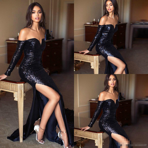 Black Sequined Prom Dresses 2019 Off Shoulder Long Sleeves Sexy Front Split Sweep Train Custom Made Formal Evening Occasion Cocktail Gowns