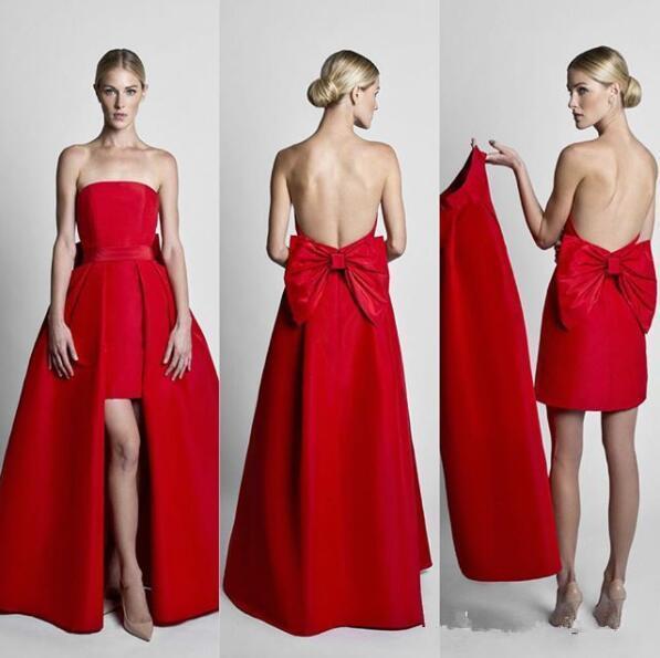 Combinaisons rouges robes de soirée de célébrité porter avec jupe amovible sweetheart sans bretelles en satin robe invité robes de soirée de bal B158