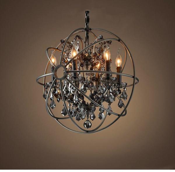 Vintage Orbital K9 Crystal Chandelier Lamp Diy American Home Deco Living Room Retro Rust Iron Luxury Chandelier Lighting Fixture Pendant Light Fixture