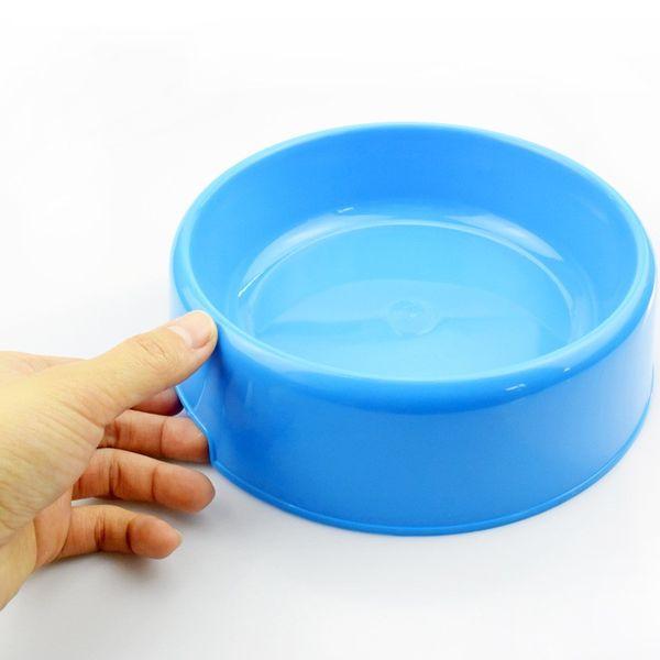 Chien rond Bol simple en plastique Chiens Nourriture Seau Résine Rack D'alimentation pour animaux de compagnie Boisson Eau Fournitures Jaune Bleu 1 8jy C1
