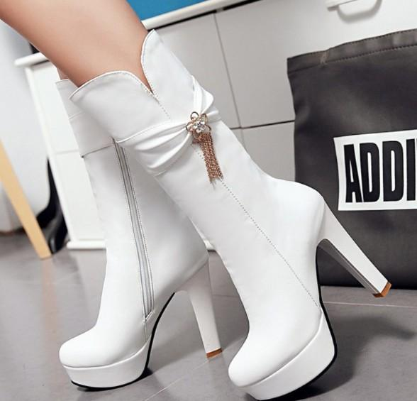 New Arrival Hot Sale Specials Super Fashion Influx Martin Plus Velvet Cotton Female Leather Bow Tassels Sweet Large Size High Boots EU34-43