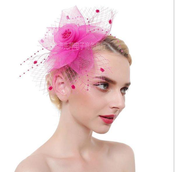 Veil hairpin bride's headdress feather hair ornament