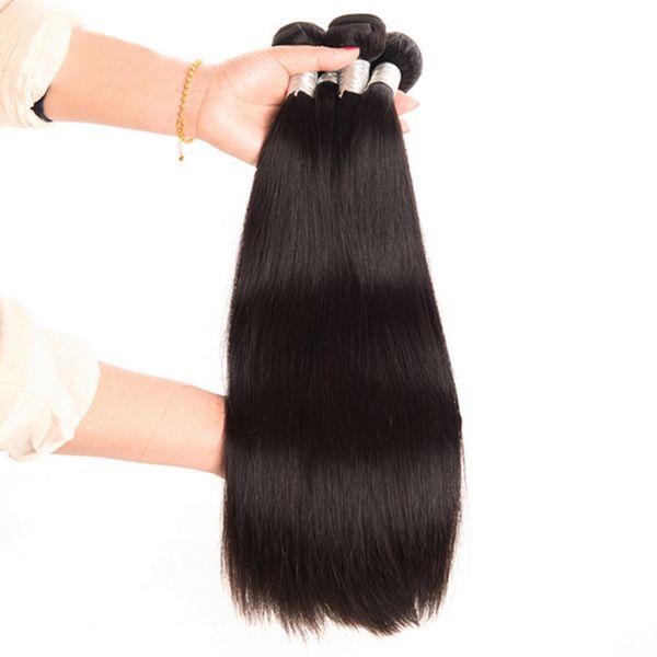 Vendita calda brasiliana 100% capelli umani tessere parrucche di capelli remy corpo dritto colore naturale tinto disponibile 10-30 pollici