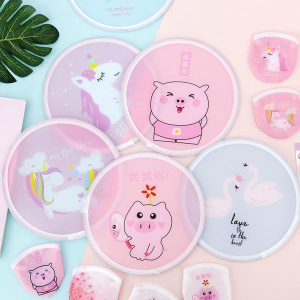 top popular Portable Handless Folding Fans Mini Round Fan in Summer Korean Style Cartoon Hand-held Small Circular Fan Silk Fabric Student Kids Gift 2021