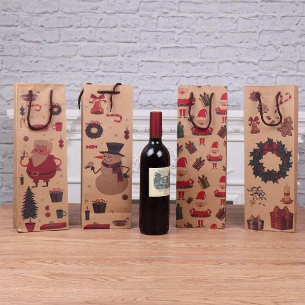Sacs d'emballage de Noël Sac en papier pour sac de bouteille de vin rouge Champange Porte-cadeaux Emballage ZC1047