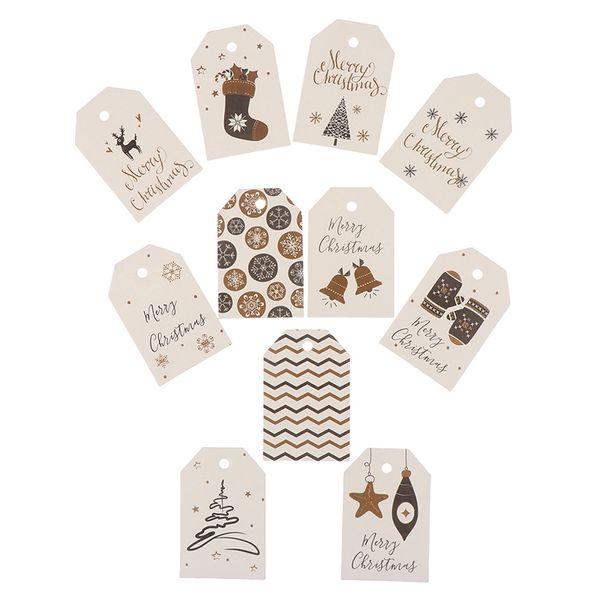 100PCS / set papier de bricolage Étiquettes papier Kraft Tag Head Étiquette Note Festival Blank bricolage Prix Tag Joyeux Cartes Accrocher de cadeau de Noël