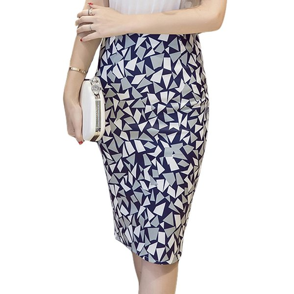 Hohe Taille Rock Frauen 2019 Mode Korean Geometric Printed Sexy Mantel Bleistift Röcke Knielangen Damen Büro Kleidung Saia