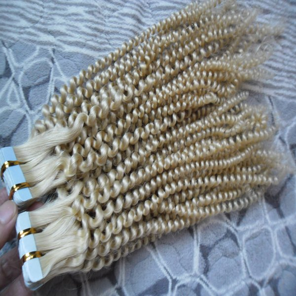 "10""-26"" Tape Hair Extensions loose curly 100% Brazilian Remy Human Hair 40pcs/pack afro kinky curly Skin Weft Tape In Human Hair Extensions"